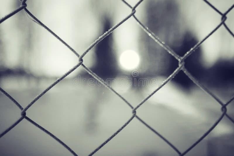 De achtergrond van de de winteromheining stock fotografie