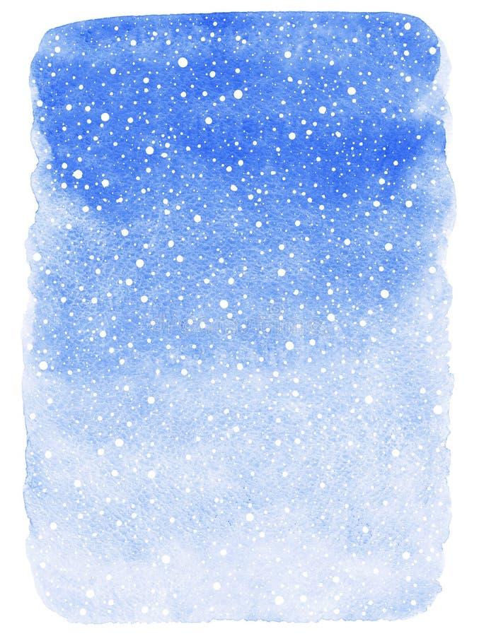 De achtergrond van de de winterwaterverf met de dalende textuur van de sneeuwplons vector illustratie