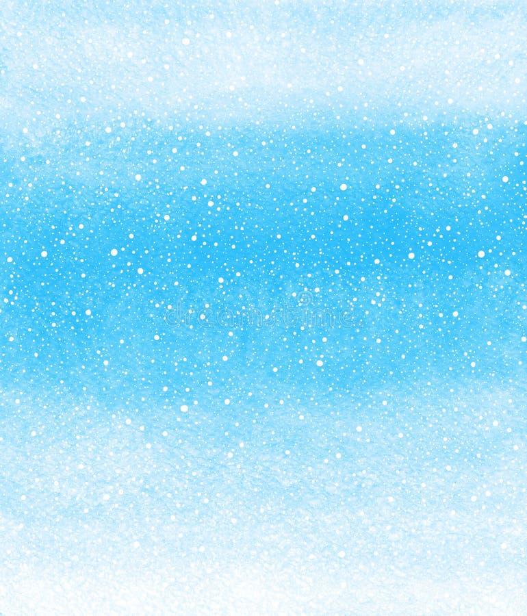 De achtergrond van de de winterwaterverf met de dalende textuur van de sneeuwplons stock illustratie