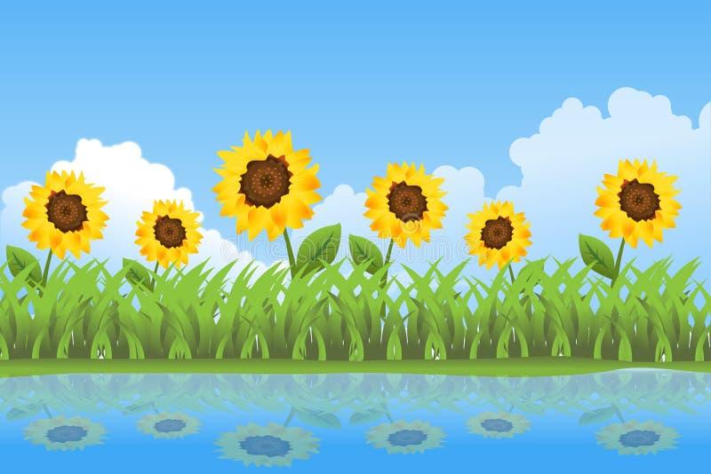 De achtergrond van de de zomerdag van zonnebloemen vector illustratie