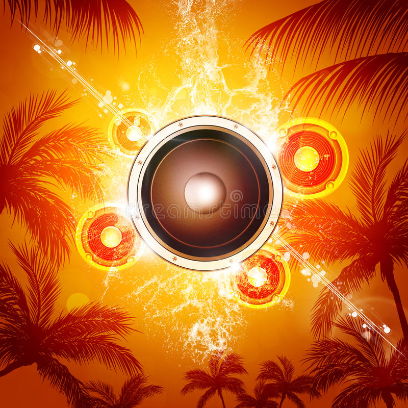 Download De Achtergrond Van De De Zomermuziek Stock Foto - Afbeelding bestaande uit palm, strand: 54082532