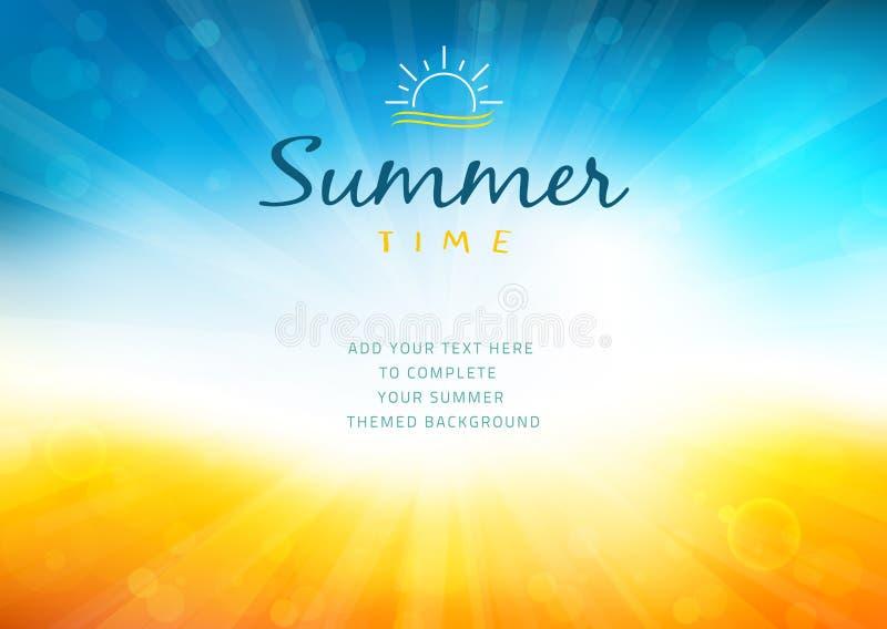De achtergrond van de de zomertijd met tekst - illustratie vector illustratie
