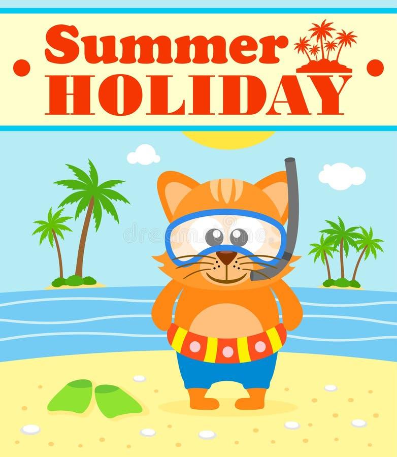 De achtergrond van de de zomervakantie met kat stock illustratie