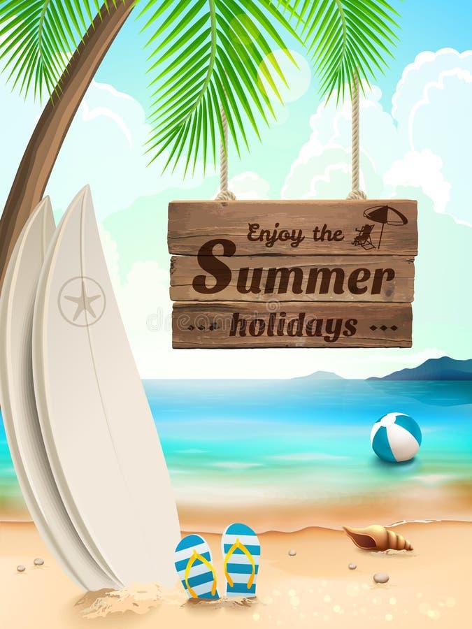De achtergrond van de de zomervakantie - surfplank tegen strand en golven Vector illustratie royalty-vrije illustratie