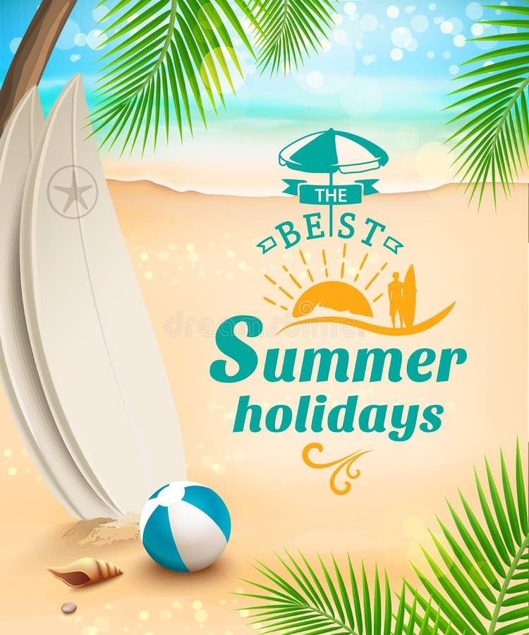 De achtergrond van de de zomervakantie - surfplank tegen strand en golven Vector illustratie vector illustratie