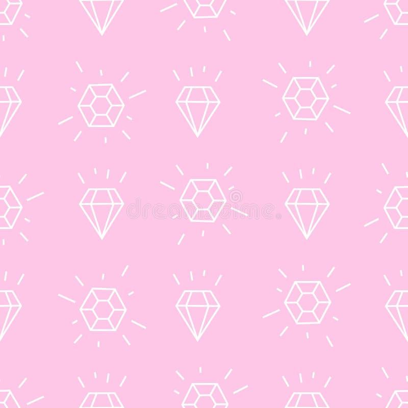 De achtergrond van de diamant Roze en witte meisjesachtige illustratie stock illustratie