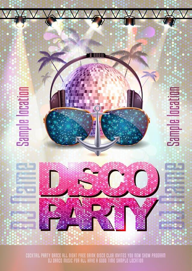 De achtergrond van de disco De affiche van de discopartij stock illustratie
