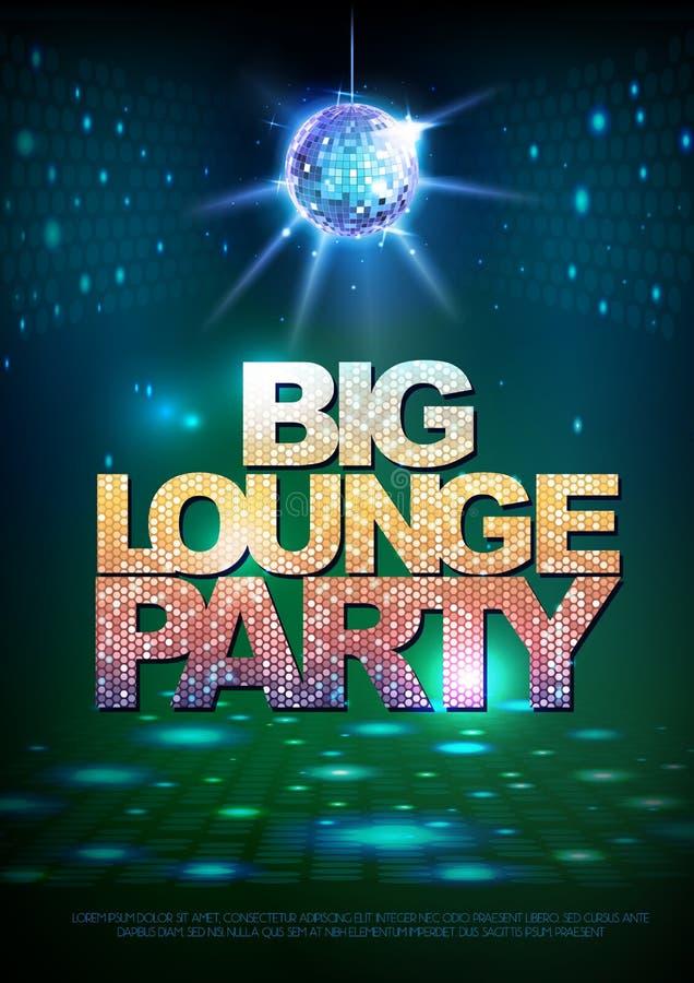 De achtergrond van de discobal Grote de zitkamerpartij van de discoaffiche stock illustratie