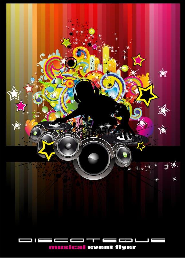De Achtergrond van de Gebeurtenis van de disco met kleurrijke elementen stock illustratie