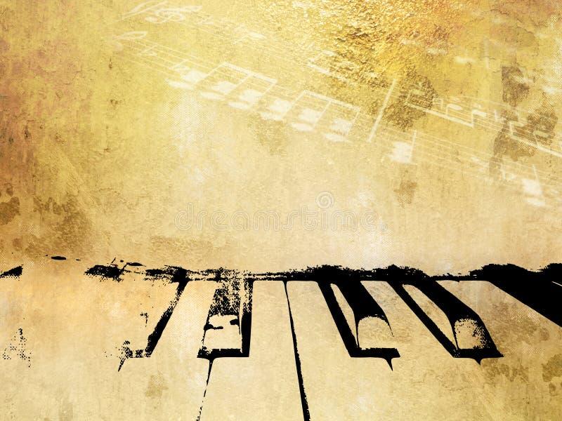 De achtergrond van de Grungemuziek - uitstekende piano en muzieknota's stock illustratie