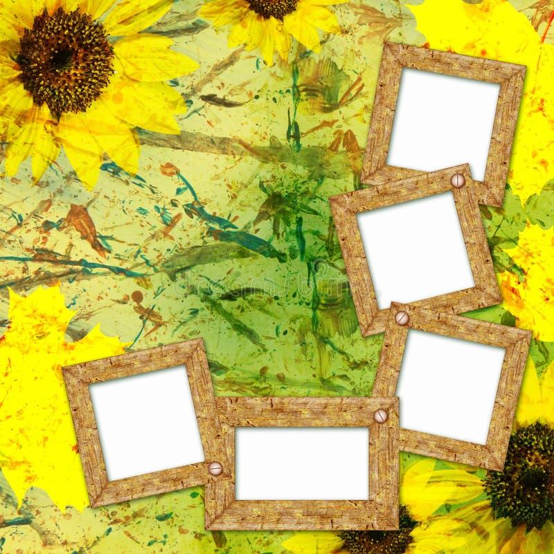 De achtergrond van de herfst met frames stock illustratie