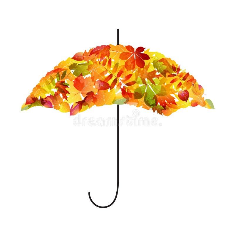 De achtergrond van de herfst. Paraplu van bladeren vector illustratie
