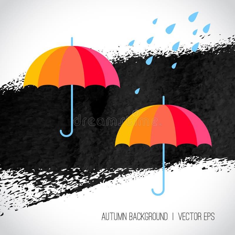 De achtergrond van de herfst Rode en oranje het bladclose-up van de kleurenKlimop De paraplu's van de regenboogkleur en stock illustratie