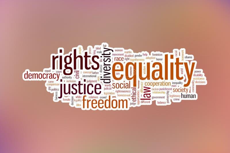 De achtergrond van de het woordwolk van het gelijkheidsconcept op vaag blauw backgroun stock afbeeldingen