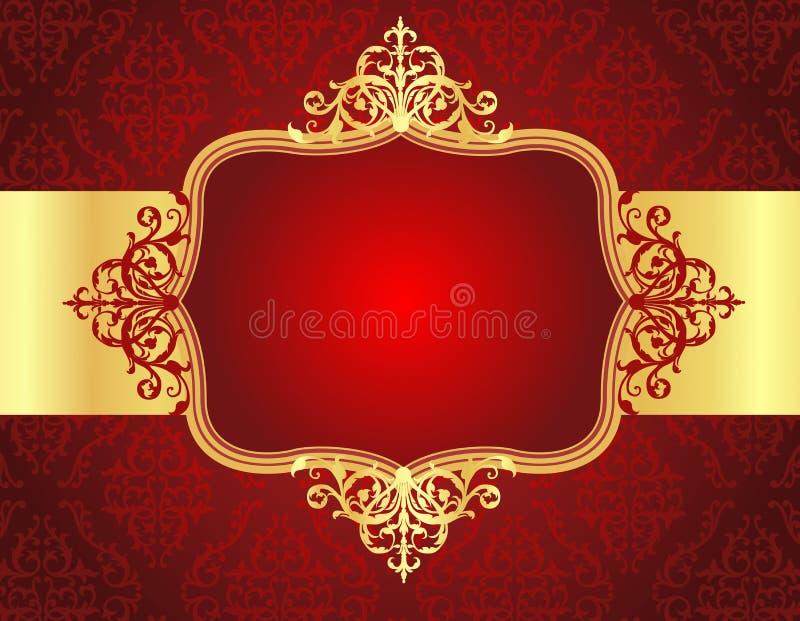 De achtergrond van de huwelijksuitnodiging met rood damastpatroon royalty-vrije illustratie