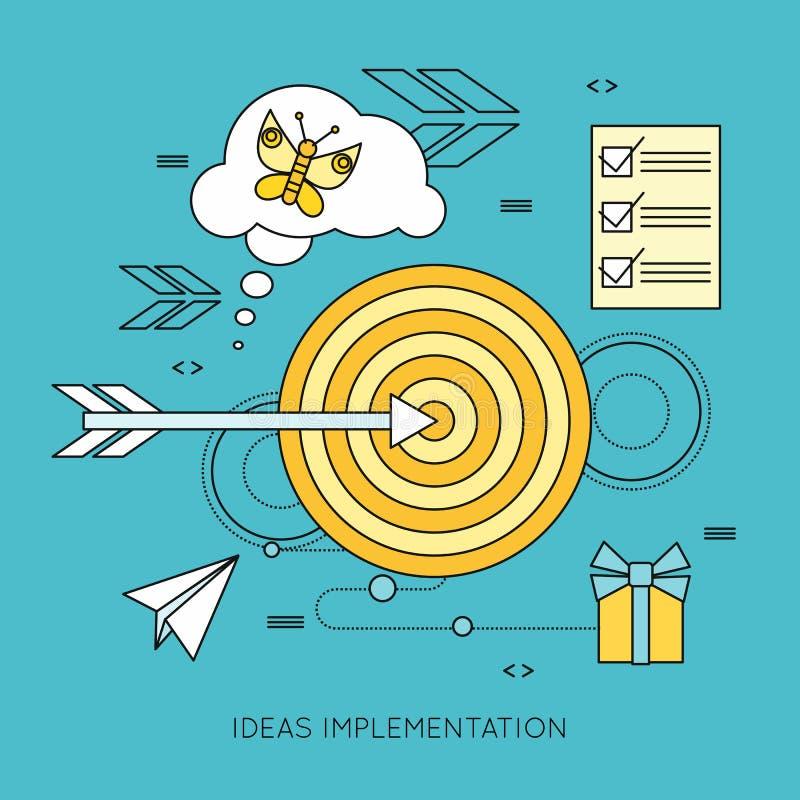 De Achtergrond van de ideeënimplementatie in Vlakte stock illustratie