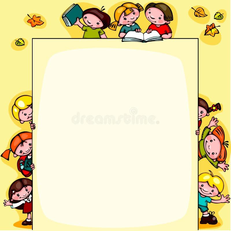 De achtergrond van de jonge geitjesschool royalty-vrije illustratie