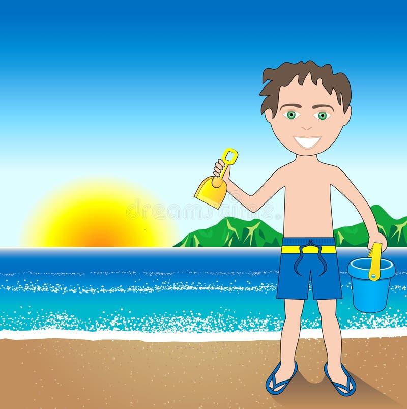 De Achtergrond van de Jongen van het Zand van het strand vector illustratie