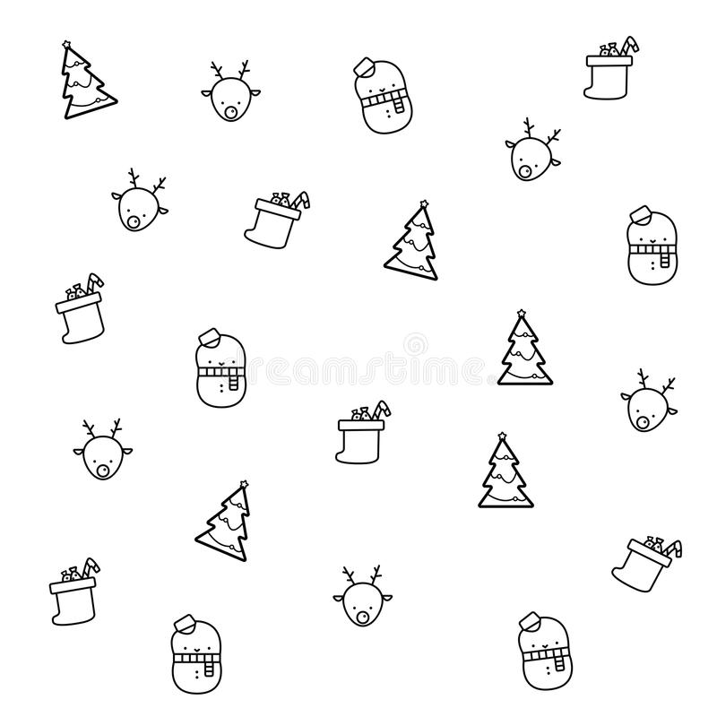 De achtergrond van de Kerstmiskrabbel vector illustratie