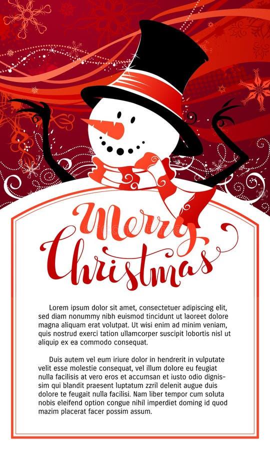De achtergrond van de Kerstmissneeuwman vector illustratie