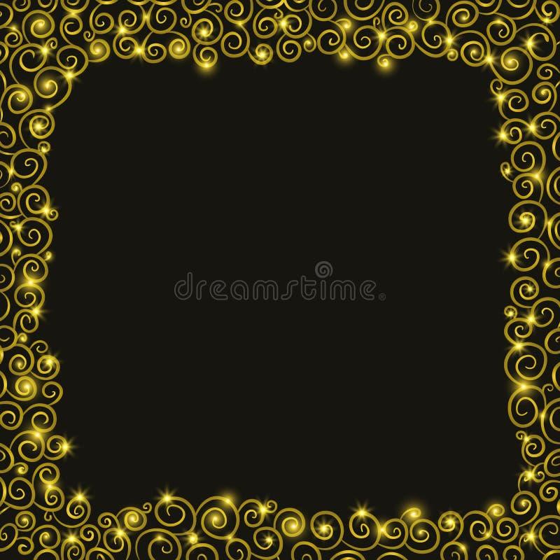 De achtergrond van de Kerstmisvakantie met Gouden spiralen vector illustratie