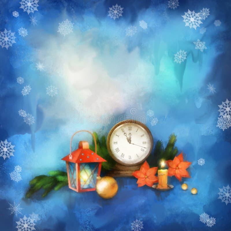 De achtergrond van de Kerstmiswaterverf royalty-vrije illustratie