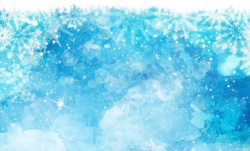 De achtergrond van de Kerstmiswaterverf met sneeuwvlokken en bokeh lichten royalty-vrije illustratie