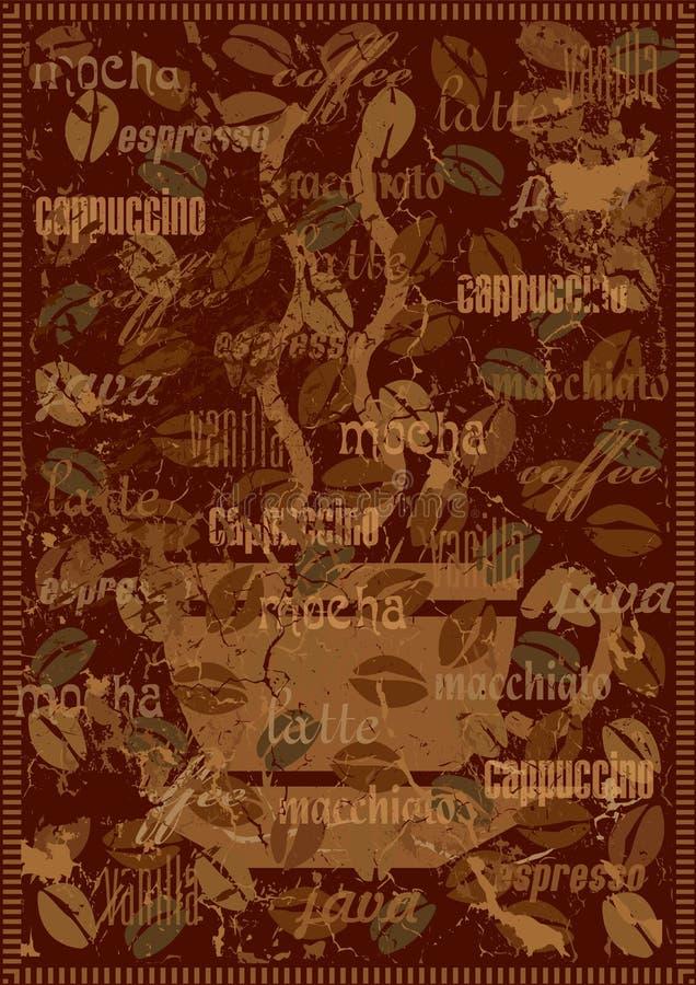 De achtergrond van de koffie met diverse soorten koffie royalty-vrije illustratie