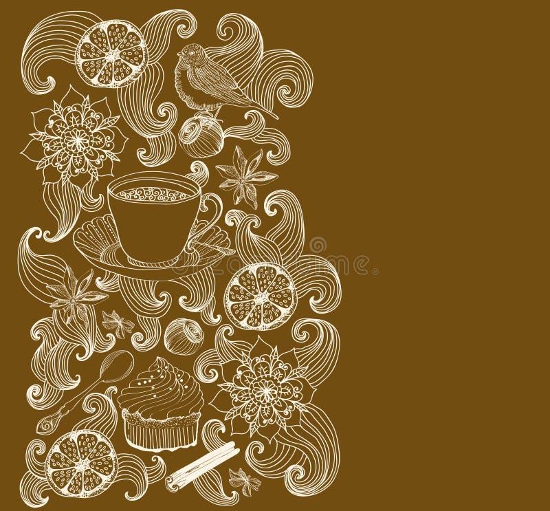 De achtergrond van de krabbel voor theetijd stock illustratie