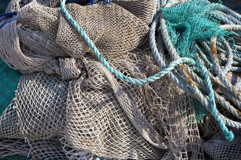 De achtergrond van de kunst, visserijnet op het schip royalty-vrije stock foto