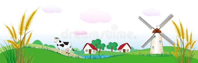 De achtergrond van de landbouw met huizen, koe en tarwe vector illustratie