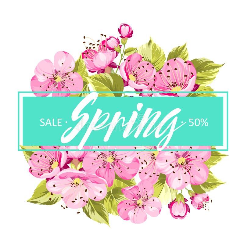 De achtergrond van de lente met sakurabloemen stock illustratie