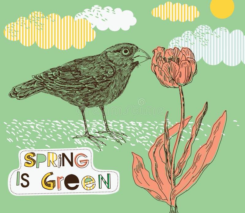 De achtergrond van de lente met tulp en vogel royalty-vrije illustratie