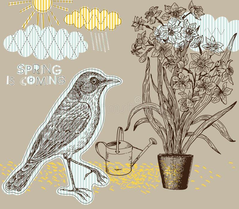 De achtergrond van de lente met vogel en narcissen royalty-vrije illustratie