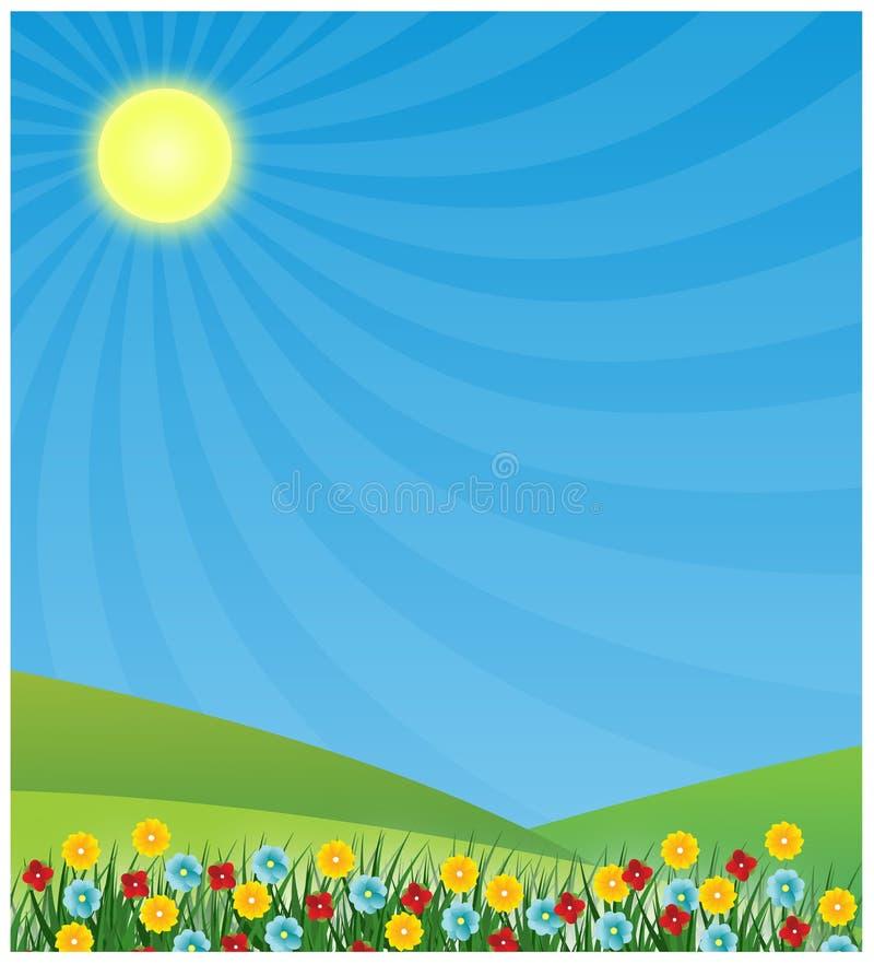 De achtergrond van de lente met zon het glanzen