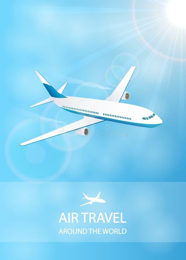 De achtergrond van de luchtreis met wit vliegtuig royalty-vrije illustratie