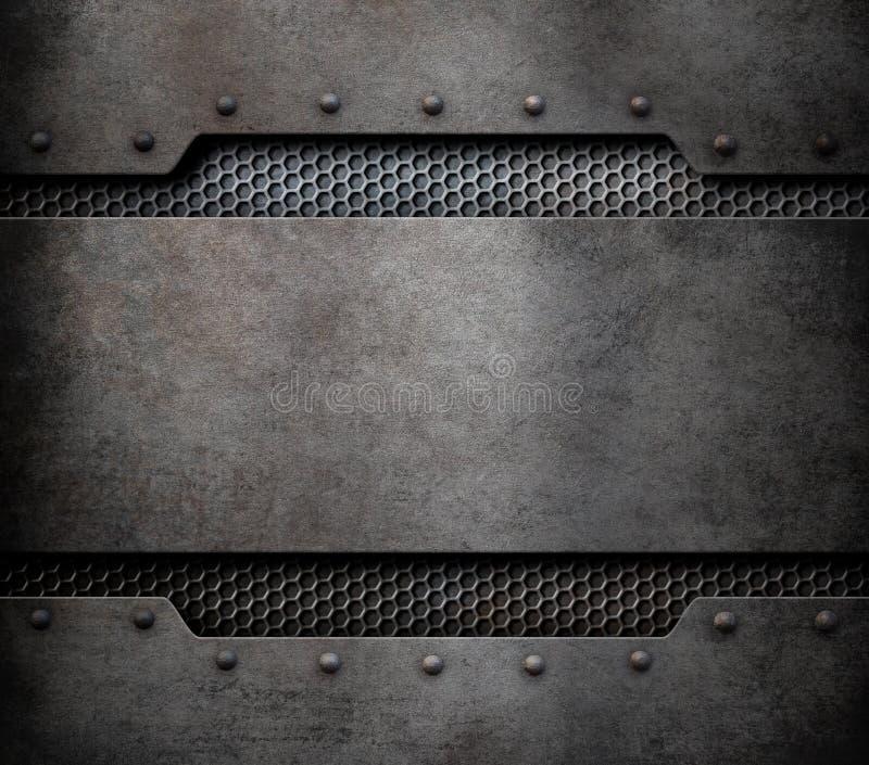 De achtergrond van de metaalplaat met klinknagels 3d illustratie vector illustratie