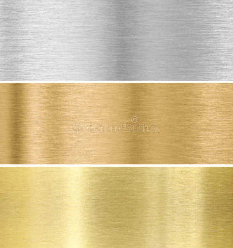 De achtergrond van de metaaltextuur: goud, zilver, brons royalty-vrije illustratie