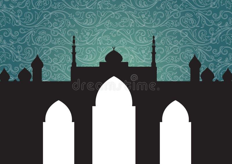 De achtergrond van de moskee royalty-vrije illustratie