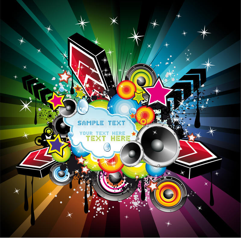 De Achtergrond van de Muziek van de Disco van de regenboog stock illustratie