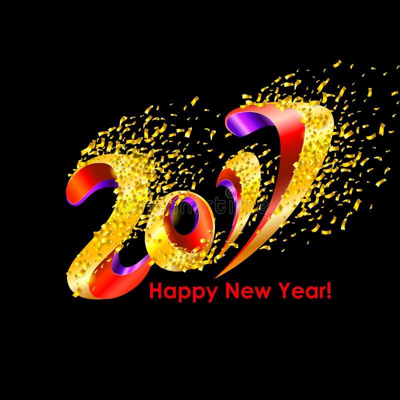 De achtergrond van de nieuwjaar 2017 viering met confettien stock illustratie