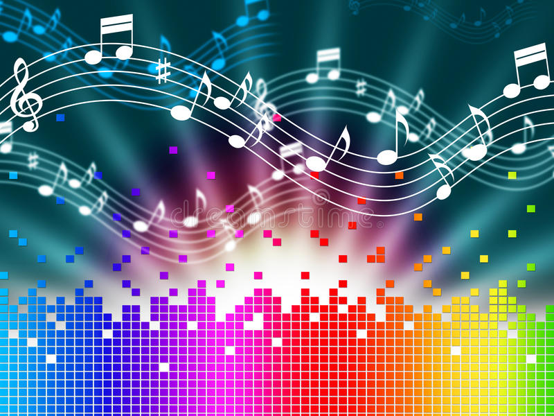De Achtergrond van de regenboogmuziek betekent Melody Singing And Soundwaves stock illustratie