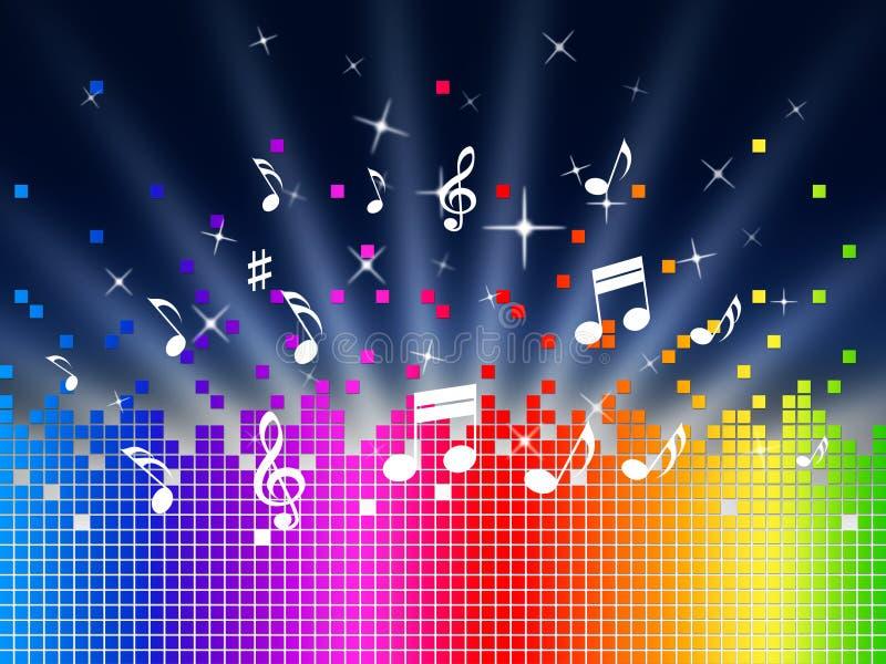 De Achtergrond van de regenboogmuziek toont Harmony Sounddwaves Or Piece stock illustratie