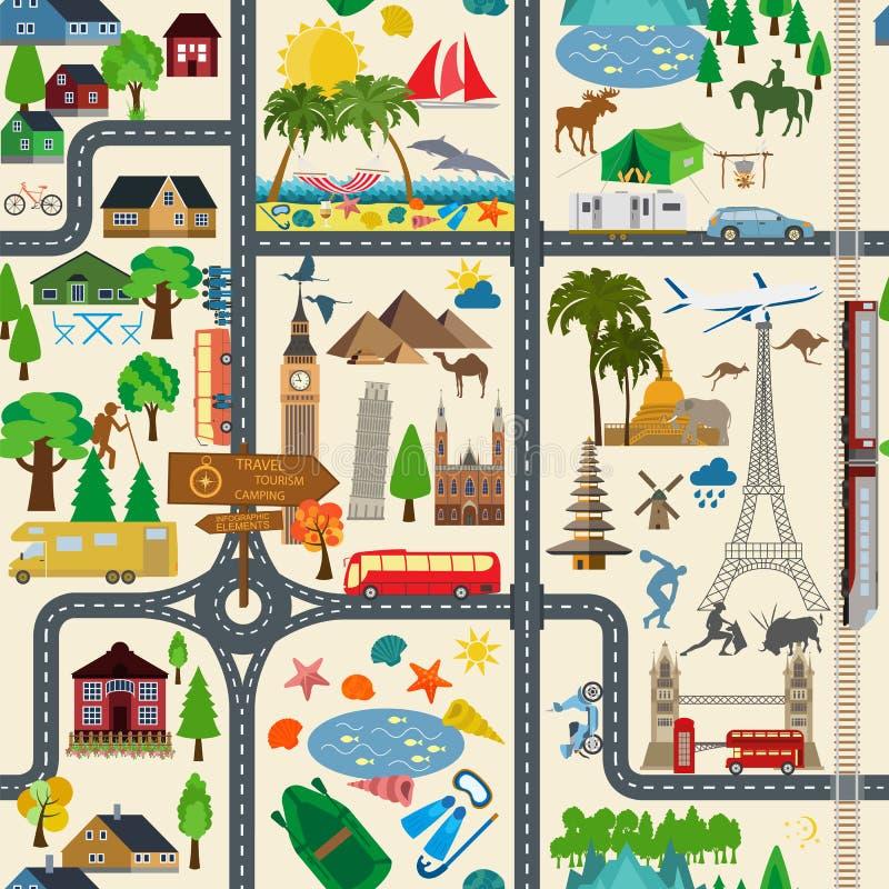De achtergrond van de reis vakanties Strandtoevlucht, het kamperen royalty-vrije illustratie
