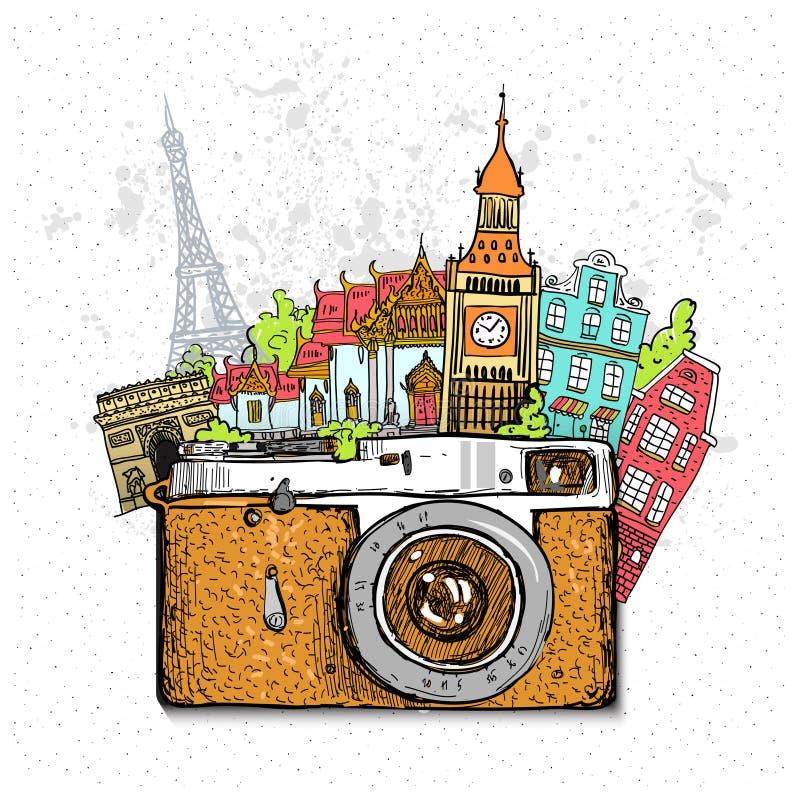 De achtergrond van de reisfoto met retro camera stock illustratie