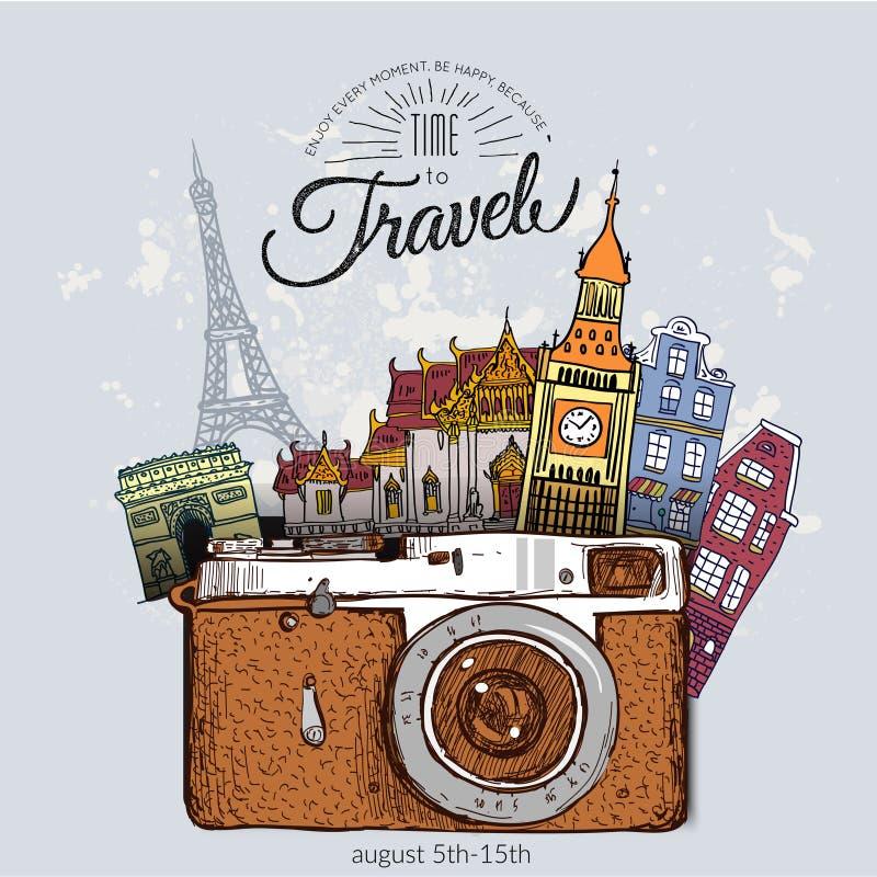 De achtergrond van de reisfoto met retro camera royalty-vrije illustratie