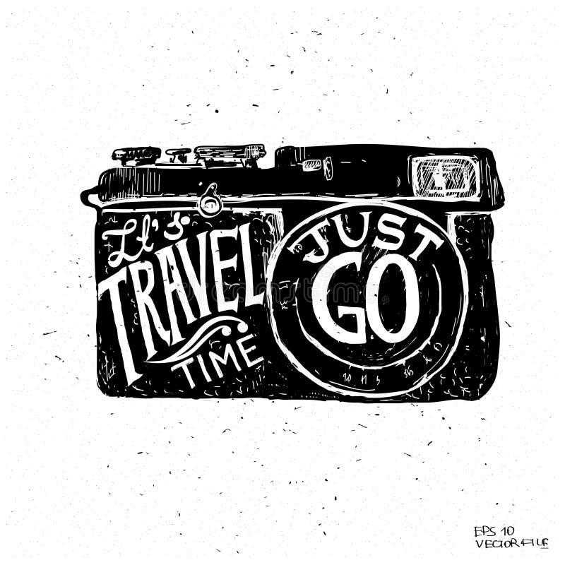 De achtergrond van de reisfoto met retro camera en de vectorillustratie van oriëntatiepuntenkaarten royalty-vrije illustratie