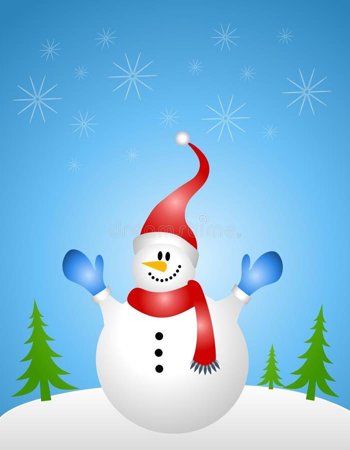 De Achtergrond van de Scène van de sneeuwman stock illustratie