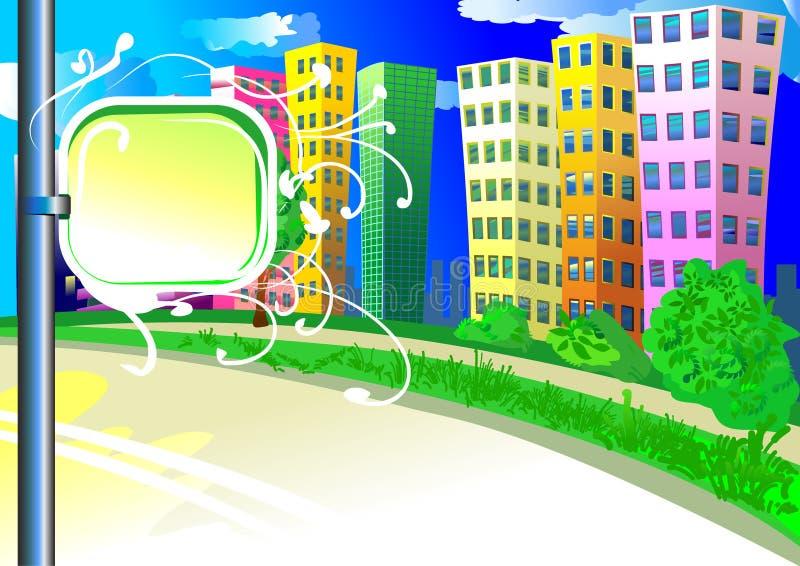 De achtergrond van de stad met tablet stock illustratie