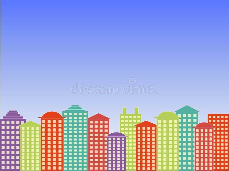 De achtergrond van de stadsreeks Kleurrijke gebouwen, blauwe heldere duidelijke hemel, zonnige dag, vector royalty-vrije illustratie